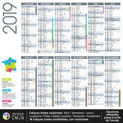 Calendrier français 2019 avec vacances scolaires officielles