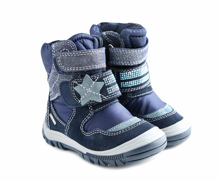 Pair child's winter shoes isolated.
