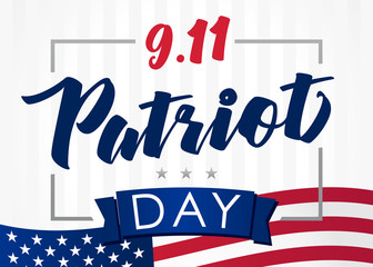 Patriot day USA Never forget 9.11, vector banner. Patriot Day September 11, We will never forget, american background
