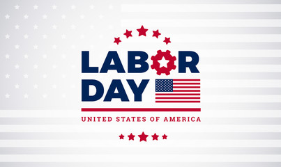 Labor Day workers day celebration lettering with american flag, Labor Day vector illustration