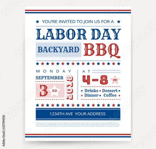 Bbq Invitation Template   Labor Day Bbq Invitation Template Labor Day Usa Grill Party Flyer