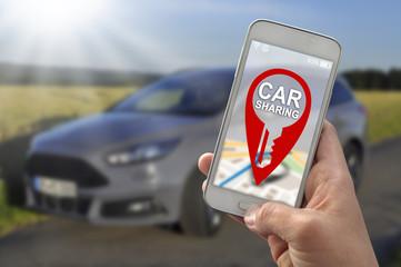Smartphone Handy App mit Carsharing