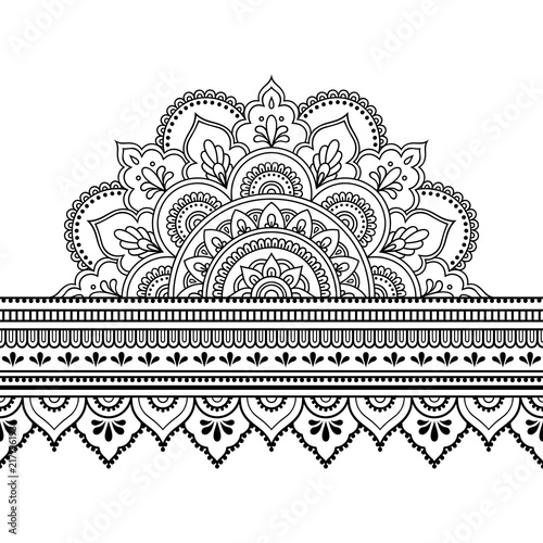 Seamless Borders With Mandala For Design Application Of Henna
