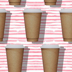 Seamless pattern. Paper mugs of coffee on a background in a pink strip. 3D rendering
