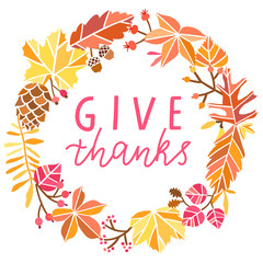 Give thanks hand drawn vector illustration. Thanksgiving