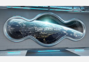 Spaceship Interior Curved Window Mockup