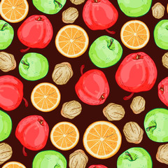 Seamless pattern of fruits, apples, nuts and oranges.