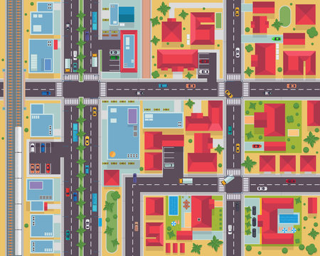 Top View Urban City Map Housing And Commercial Area Illustration
