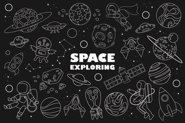 space doodle. planet, astronaut, UFO. vector illustration. Black background