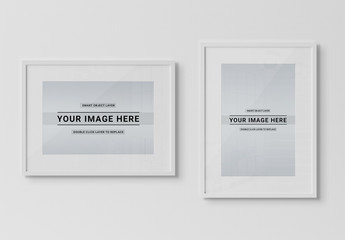 Isolated White Framed Print on Wall Mockup