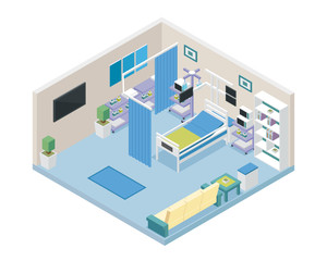 Modern Hospital VIP Intensive Care Unit Room Area Interior in Isometric View Illustration In Isolated White Background