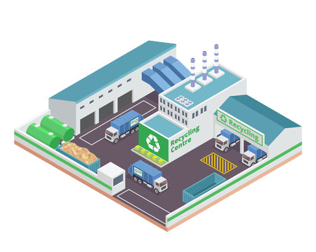 Modern Isometric Green Recycle Factory Building With Solar Panel Energy Illustration