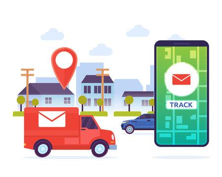 Modern Urban City Mail Mobile Tracking System Illustration