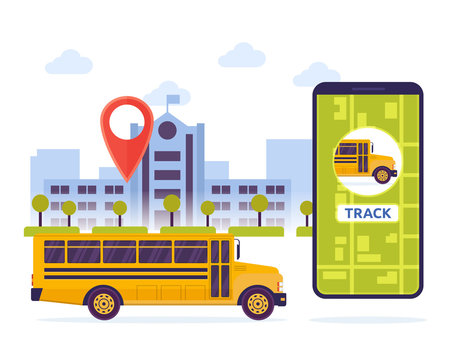 Modern Urban City Student Schoolbus Mobile Tracking System Illustration