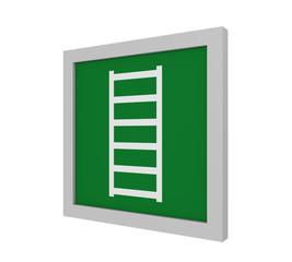 Rettungszeichen (Fluchtleiter) nach ASR (A1.3) / ISO. Seitenansicht, 3d Render