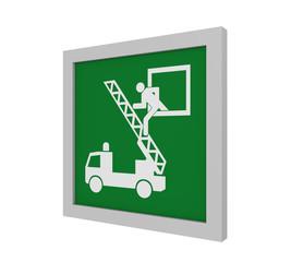 Rettungszeichen (Rettungsausstieg) nach ASR (A1.3) / ISO. Seitenansicht, 3d Render