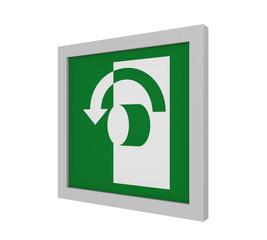 Rettungszeichen (Öffnung durch Linksdrehung) nach ASR (A1.3) / ISO. Seitenansicht, 3d Render
