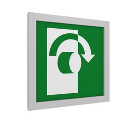 Rettungszeichen (Öffnung durch Rechtsdrehung) nach ASR (A1.3) / ISO. Seitenansicht, 3d Render