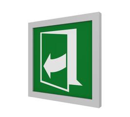 Rettungszeichen (Tür öffnen durch ziehen auf der rechten Seite) nach ASR (A1.3) / ISO. Seitenansicht, 3d Render