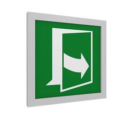 Rettungszeichen (Tür öffnen durch ziehen auf der linken Seite) nach ASR (A1.3) / ISO. 3d Render
