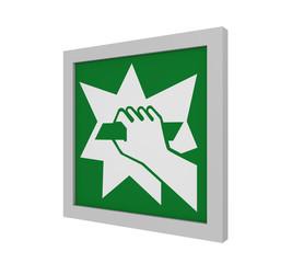 Rettungszeichen (Notausgang Vorrichtung, die nach zerschlagen einer Scheibe zu erreichen ist) nach ASR (A1.3) / ISO. Seitenansicht, 3d Render