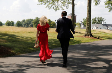 White House counselor Conway and White House Senior advisor Kushner walk outside before participating in a roundtable discussion with state leaders on prison reform in Berkeley Heights