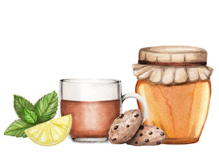 Watercolor illustration with tea, honey and cookies hand drawn on white background isolated