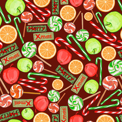 Christmas seamless pattern of festive candy, apples, oranges.