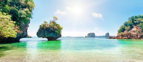 Blue sea, blue sky and paradise tropical beach