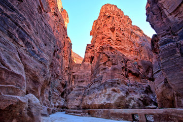 Al Siq Gorge in the Petra Ancient City, Jordan