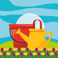 watering can with bucket and flower garden vector illustration