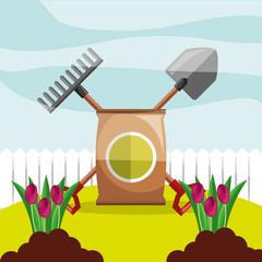 potting soil shovel and rake planting flowers garden vector illustration