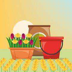 gardening bucket potting soil flowers vector illustration