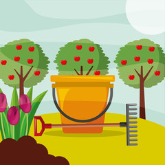 bucket rake apple trees and flowers gardening vector illustration