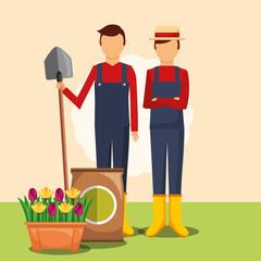 gardeners man with shovel potting soil and flowers in pot vector illustration