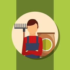 gardener man portrait with rake and package soil vector illustration