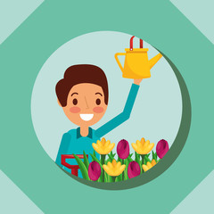 man cartoon holding watering can and flower garden vector illustration