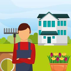 gardener man in the garden house rake flowers gardening vector illustration