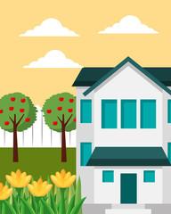 big house apple trees and flower gardening vector illustration