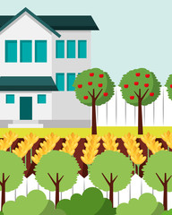 beautiful house apple trees yellow flowers and bushes gardening vector illustration