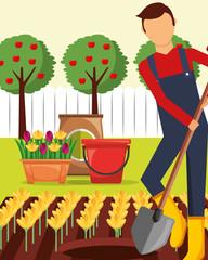 gardener man with shovel planting flowers gardening vector illustration