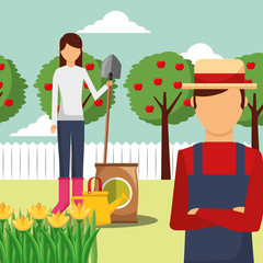 gardener man and woman with shovel potting soil and apple trees vector illustration