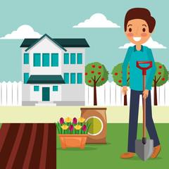 man garden house planting flowers with shovel vector illustration