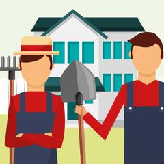 gardeners man with rake and shovel tools gardening vector illustration