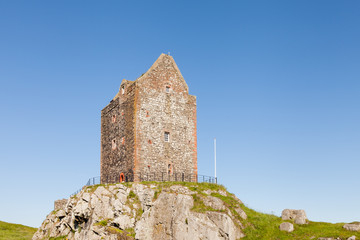 Smailholm Tower.  A close up picture of Smailholm tower in the Scottish Borders.  The tower was build in the 1400's as protection from border raiders and the elements.