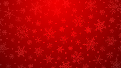 Christmas illustration with various small snowflakes on gradient background in red colors Fotoväggar