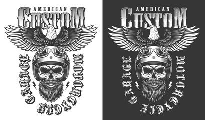 Biker emblem with eagle