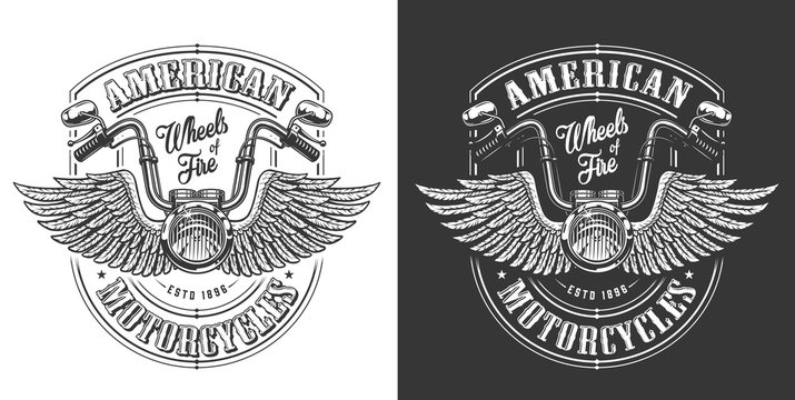 Biker emblem with wings