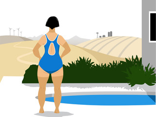 Woman in a swimsuit with tan lines standing at the pool, looking at a agricultural landscape in August or September, EPS 8 vector illustration