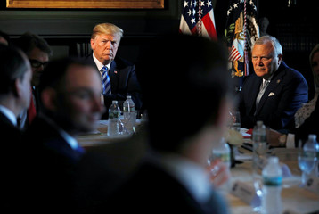 U.S. President Trump and Governor Deal of Georgia participate in a roundtable discussion with state leaders on prison reform in Berkeley Heights, New Jersey